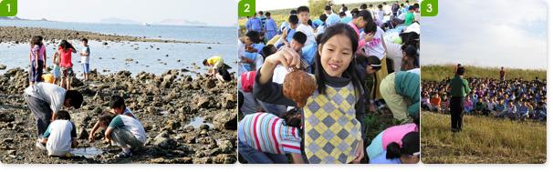도비도 앞바다 갯벌에서 갯벌체험을 하고 있는 아이들 / 고구마캐기를 통해 농촌체험을 하는 어린이들 / 체험을 온 학생들은 사전 교육