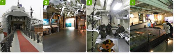 1.화산함의 전면 /2.화산함의 로비 /  3.해병대의 선상 내무반 / 4.1, 2차 연평해전에 대한 전시관
