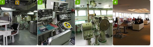 1.전주함의 전투정보실 / 2.전투정보실의 장비들 / 3.함교의 장비와 시설 / 4.함상공원 전주함의 카페