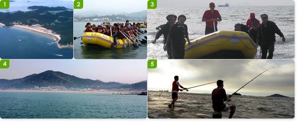 난지섬해수욕장 전경 / 난지섬 청소년수련관에서 제공하는 해양레프팅 프로그램을 즐기고 있는 아이들 / 난지섬 해양레프팅은 어른들도 즐기기에 알맞다 / 선상에서 바라본 난지섬해수욕장 원경 /바다낚시를 즐기는 난지섬의 강태공들